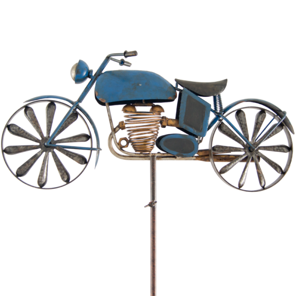 Motorrad Windspiel Motorcycle BLUE Metall Gartenstecker Windrad