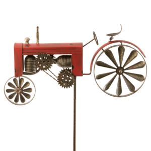 Gartenstecker Traktor, groß - Windspiel Trecker aus Eisen mit beweglichem Hinterrad als Windrad - Farmer Windmühle Landwirtschaft XE60531