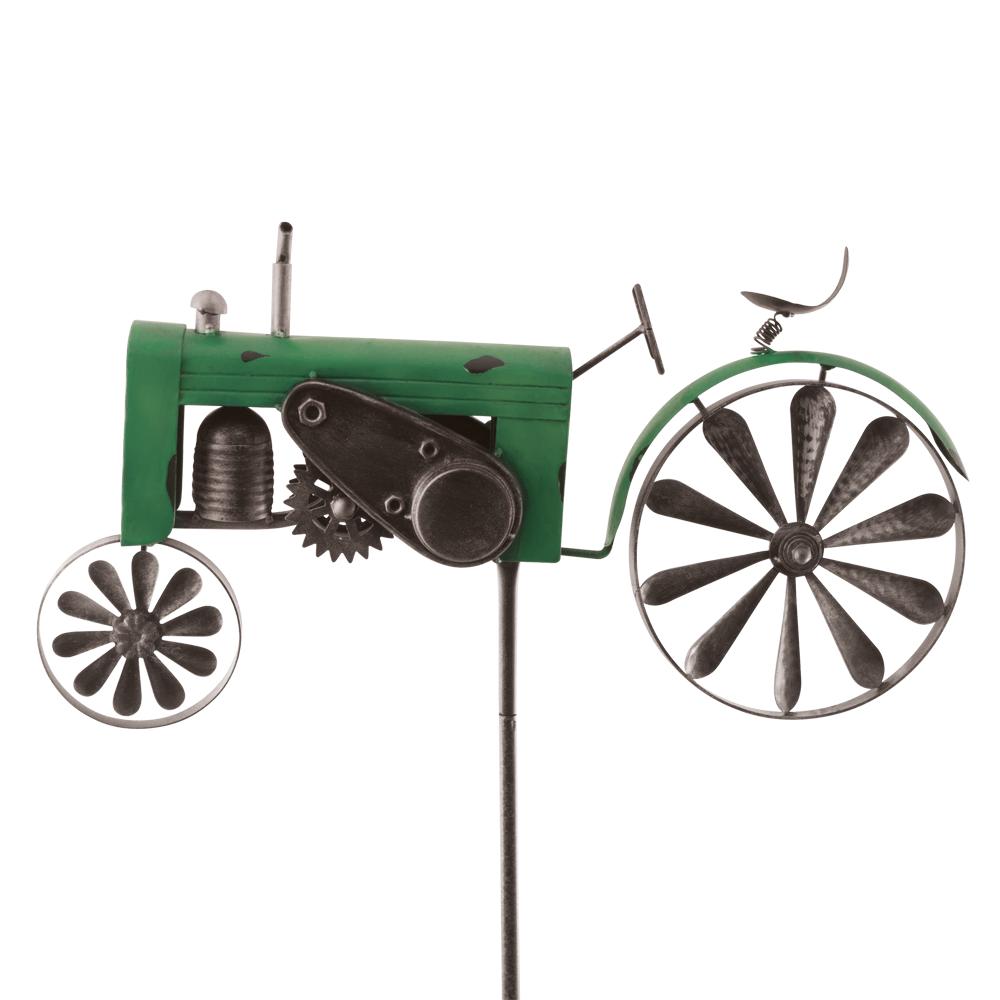 Gartenstecker Traktor Windspiel Trecker Eisen Grun Bewegliches Rad