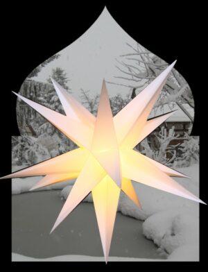 XL Outdoorstern weiß - großer Leuchtstern wetterfest inkl. Kabel - 75 - 100 cm, 15 Spitzen