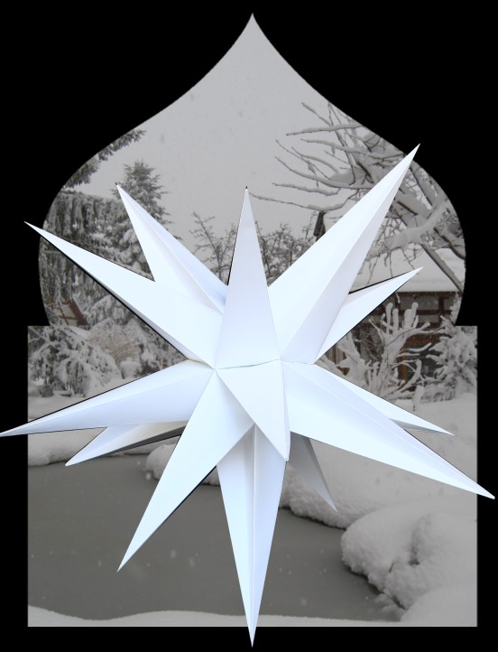 XL Outdoorstern weiß - großer Leuchtstern wetterfest inkl. Kabel - 75 - 100 cm, 15 Spitzen unbeleuchtet
