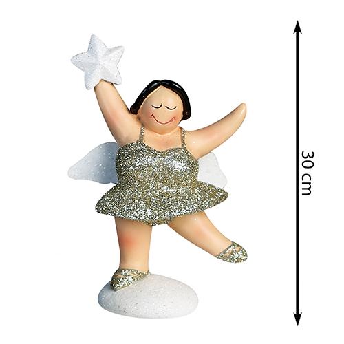 XXL Engel Betty stehend - mollige Engel Figur - 30 cm champanger weiß