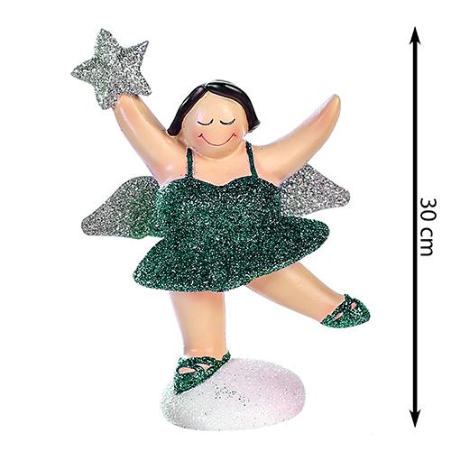 XXL Engel Betty stehend - mollige Engel Figur - 30 cm dunkelgrün gold