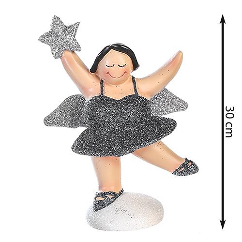 XXL Engel Betty stehend - mollige Engel Figur - 30 cm graphit silber