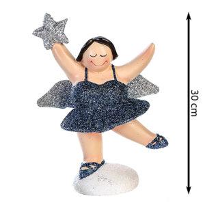 XXL Engel Betty stehend - mollige Engel Figur - 30 cm nachtblau silber