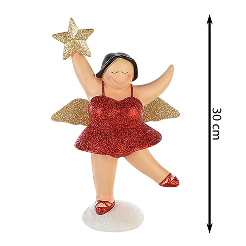 XXL Engel Betty stehend - mollige Engel Figur - 30 cm rot gold