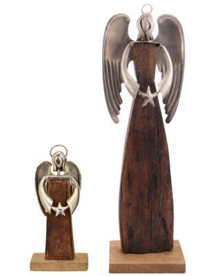 XXL Holz Engel Puri Schutzengel Skulptur Holz-Metall – Industrial Dekofigur 25 – 64cm