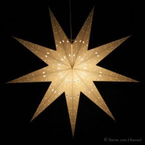 Adventsstern XXL Papierstern creme 80cm, Sternenmuster, 9 Zacken