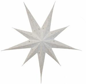 Adventsstern XXL Papierstern weiß 80cm, bestickt, handgeschöpftes Papier, 9 Zacken