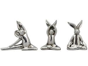 Yoga Hase Figur silber - Meditation Hase Skulptur im Lotussitz 237380_s