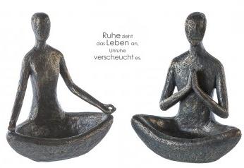 Yoga Skulptur im Lotussitz - Polystone in bronzefarben