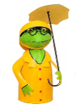 Zaunhocker Schietwetter Frosch im Ostfriesennerz - Wetterfrosch mit Regenmantel und Regenenschirm - Metallfrosch