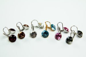 Brisur-Ohrringe - Ohrhänger mit 10 mm Swarovski Kristall - Klappbrisuren