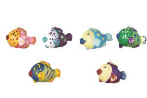 Pappmaché mini Fische 12 er Set - 6 verschiedene Glitzerfische