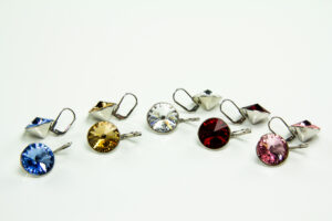 Brisur-Ohrringe - Ohrhänger mit 14 mm Swarovski Kristall - Klappbrisuren