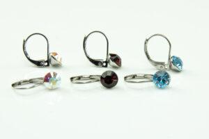 Brisur-Ohrringe - Ohrhänger mit 6 mm Swarovski Kristall - Crystall Klappbrisuren - rhodiniert