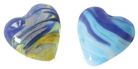 bunte Glas Herzen Schlieren – Dekoherzen – Glasherzen – Streudeko Glasherz blau