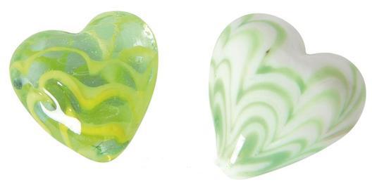bunte Glas Herzen Wellen-Design – Dekoherzen – Glasherzen – Streudeko Glasherz - gün weiß