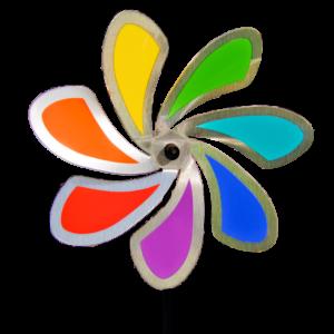 Edelstahl Windrad Regenbogen Blume SOLID RAINBOW - Orbit Windspiel - Made in Germany - wartungsfrei