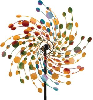 XXL | XL Metallwindrad Kinetic Spinner Confetti 48 cm | 76 cm - Windspiel mit 2 Windräder - Gartenobjekt 175cm | 214cm - Limitiert