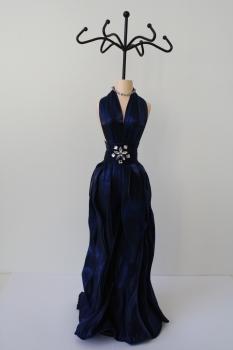 Schmuckpuppe Diva - blaues Abendkleid - Schmuckständer