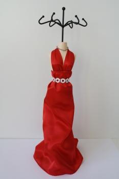 Schmuckpuppe Diva - rotes Abendkleid - Schmuckständer