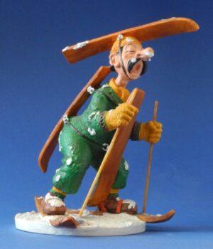 "Albert Dubout Figur Ski ""SYSTÈME D"" Comic Karikatur Skulptur Skifahrer"