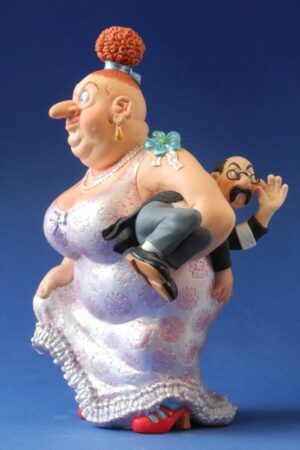 "Skulptur Albert Dubout ""Mon mari est fatigué"" Comic Karikatur"