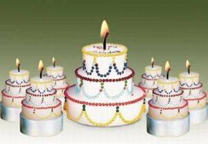 Kerze Geburtstagstorte mit Schriftzug Happy Birthday - Festtagstorte Eine leckere Geburtstagstorte zum Anzünden!