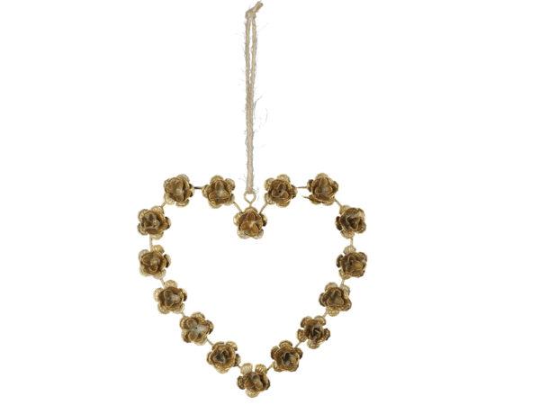 goldenes Metall Rosen Herz zum Aufhängen - Fensterdekoherz