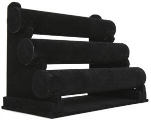 großer Ständer für Armbänder, Armreifen und Armbanduhren – Schmuckständer schwarz mit Samt