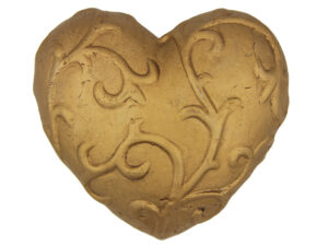 großes goldenes Dekoherz - Terrakotta Herz .