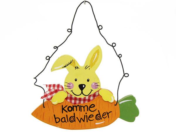 """Holz-Schild """"Komme bald wieder"""" mit Metall-Aufhängung"""