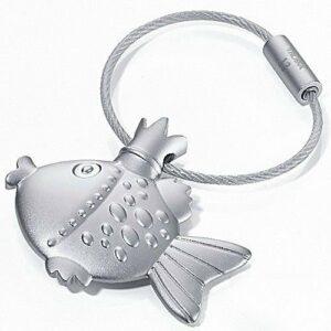Troika Fisch mit Krone - Metall Fisch Schlüsselanhänger silber, matt verchromt kr11-02 Fisch Schlüsselanhänger