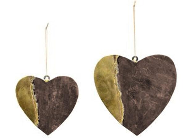 mehr braun-schwarz Metallherz mit Goldeffekt - Dekoherz zum Hängen - Herz aus Metall HerzHänger Dore