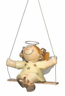 Mila Pappmaché Sterntaler Engel auf der Schaukel - beige