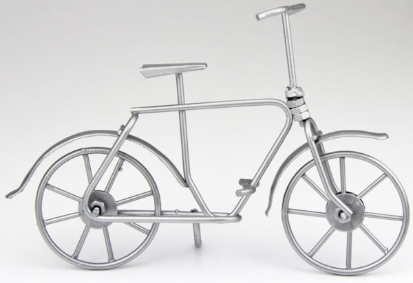 mini Fahrrad Skulptur in silber - Geldgeschenkidee