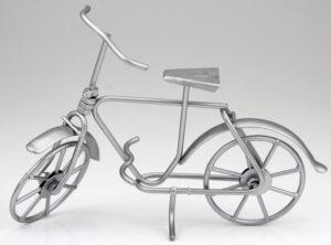 mini Fahrrad Skulptur in silber - Geldgeschenkidee.