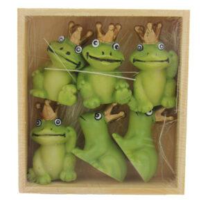 mini Froschkönige - Tischdeko 6 x kleine Frösche in der Holzkiste