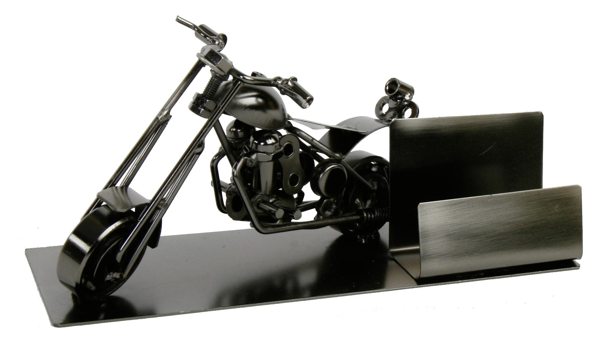 Visitenkartenhalter Motorrad Skulptur Harley Kartenhalter Chopper Metall