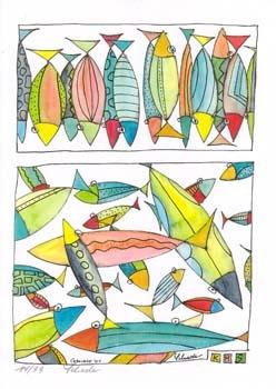 """Nr. 37 """"Freischwimmen"""" - DIN A4 Kunstdruck - limitierte Auflage"""