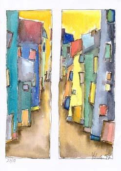 """Nr. 3 """"Strassenstreit"""" - DIN A4 Kunstdruck - limitierte Auflage - 50 Stück"""