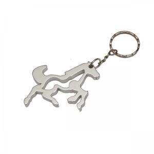 Schlüsselanhänger Pferd + Flaschenöffner aus Metall am Schlüsselring