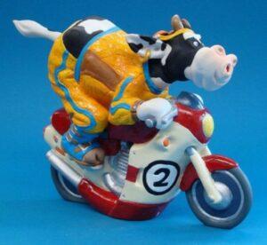 Tier Skulptur Biker Kuh - SO`VACHE Comic Art Motorradfahrer - Motor Biker - Motorcyslist - Motorrad - Sportkuh Parastone Skulptur sov05