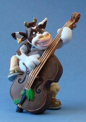 SO`VACHE Music, Bas - Comic Art Tier Skulptur Musiker Kuh mit Kontrabass Parastone Skulptur sov11