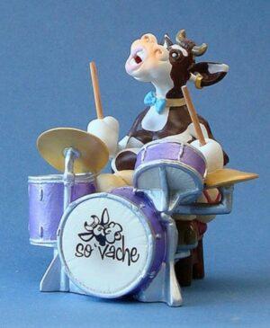 SO`VACHE Comic Art Tier Skulptur Drums - Schlagzeuger - Musiker Kuh Parastone Skulptur