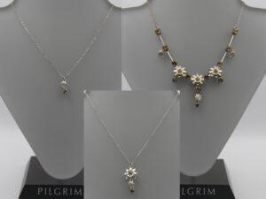 Pilgrim Kristall Blüten Kette silber :flowerOne.