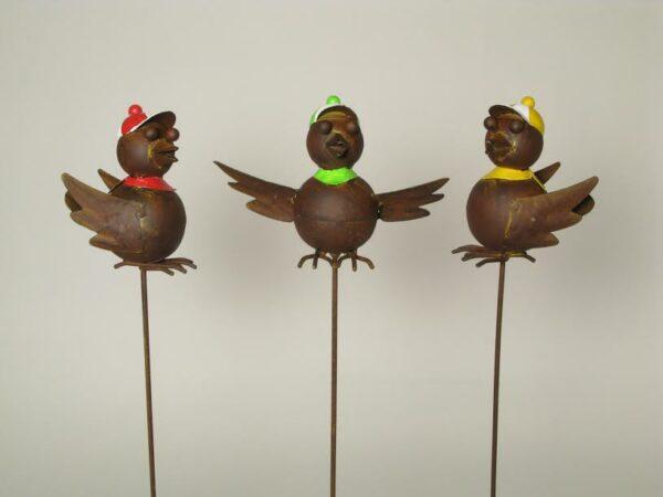 Vogel Gartenstecker aus Metall - Beetstecker, Gartendeko Vogel mit Cap und Tuch