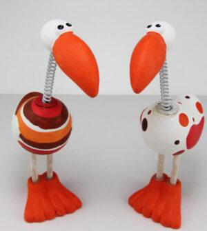 Wackel Vogel Paradiesvogel mit Wackelkopf - 2er Set Sprungfeder Vogel