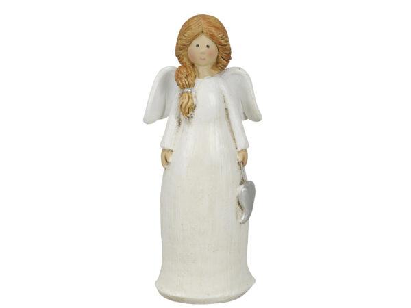 weißer Engel mit Herz - Schutzengel Figur für Garten und Haus